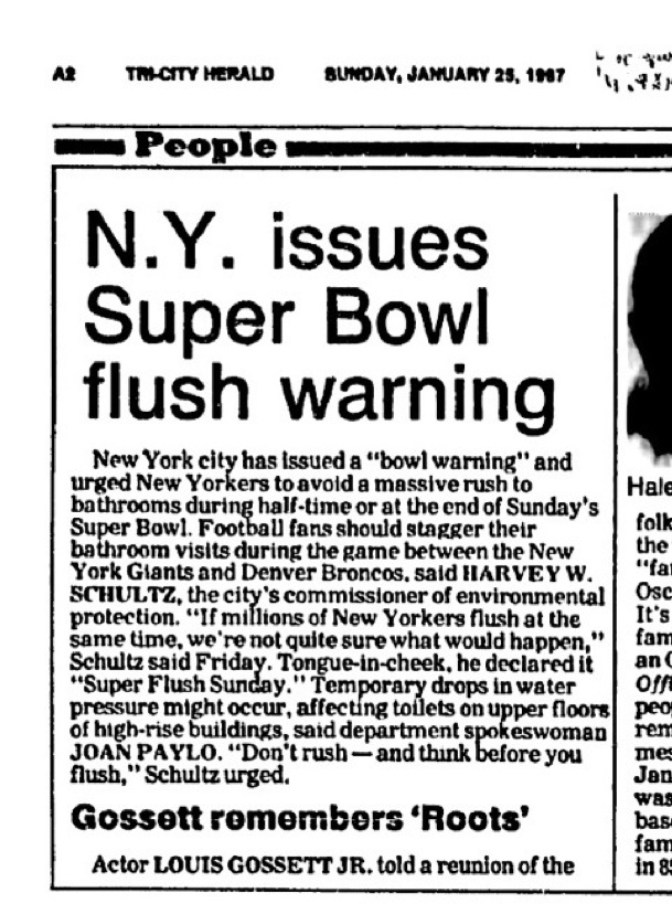 The Tri-City Herald - Super Bowl flush warning - January 25th, 1987