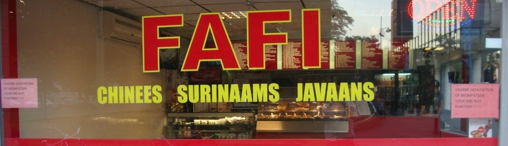 Popular takeaway restaurant in Rotterdam echoing a part of 19th century Dutch colonial history where the members of the Chinese minority of Java/Indonesia were brought as contract workers to a government-run plantation on Suriname
